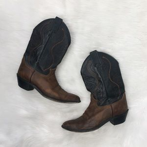 Justin Boots Black Brown Leather Cowboy Boots